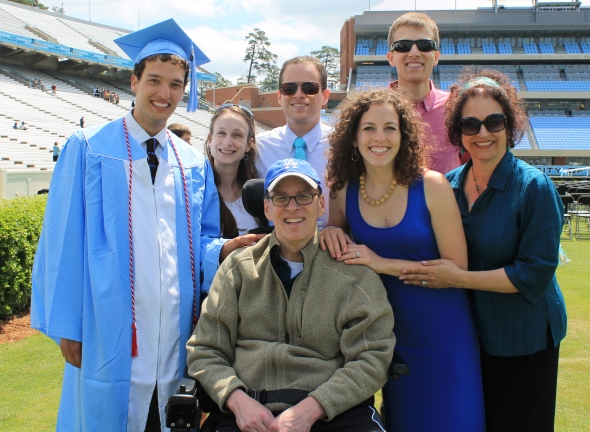 At David's graduation from UNC-Chapel Hill, May 2013.From left: David, Jennifer, Jeremy, me, James, Emily and Julia.